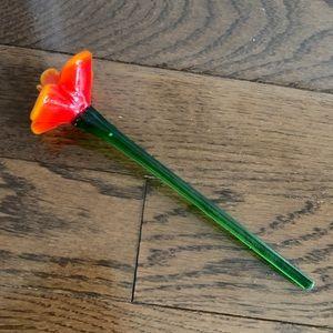 Orange & Green Murano Glass Flower - Home Decor